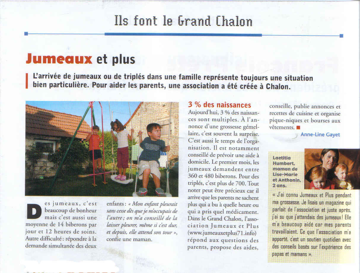 Article paru dans Le grand Chalon de Novembre 2006